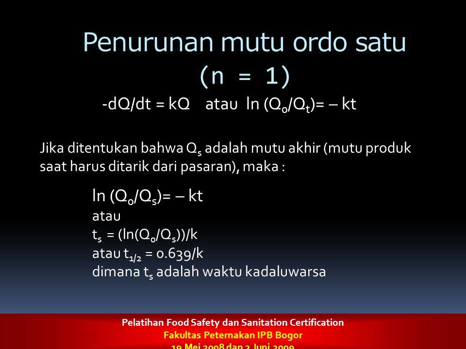 Penurunan mutu ordo satu (n = 1) -dQ/dt = kQ atau ln (Q 0 /Q t )= – kt Jika ditentukan bahwa Q s adalah mutu akhir (mutu produk saat harus ditarik dar
