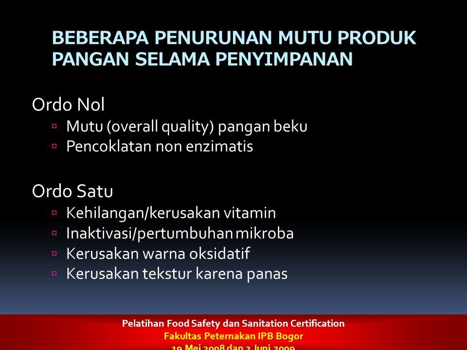 BEBERAPA PENURUNAN MUTU PRODUK PANGAN SELAMA PENYIMPANAN Ordo Nol  Mutu (overall quality) pangan beku  Pencoklatan non enzimatis Ordo Satu  Kehilan