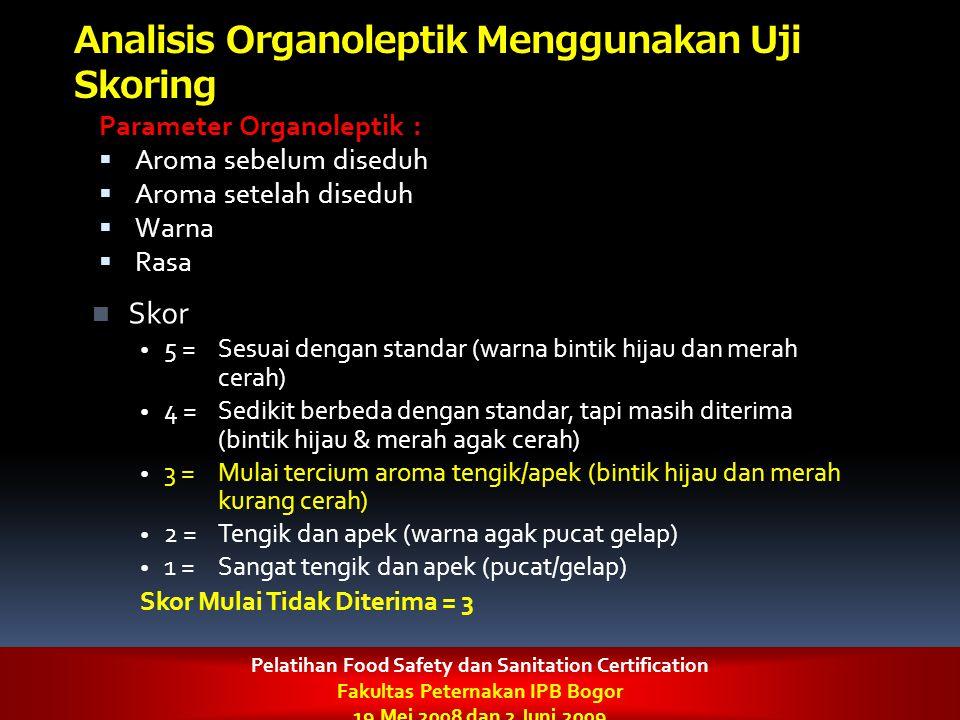 Analisis Organoleptik Menggunakan Uji Skoring Parameter Organoleptik :  Aroma sebelum diseduh  Aroma setelah diseduh  Warna  Rasa Skor 5 = Sesuai