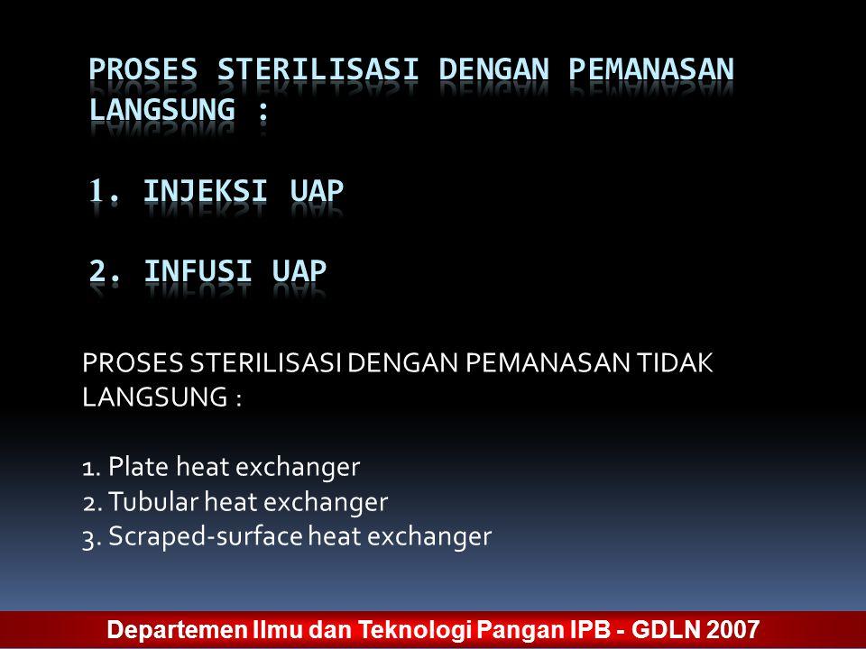 PROSES STERILISASI DENGAN PEMANASAN TIDAK LANGSUNG : 1. Plate heat exchanger 2. Tubular heat exchanger 3. Scraped-surface heat exchanger Departemen Il