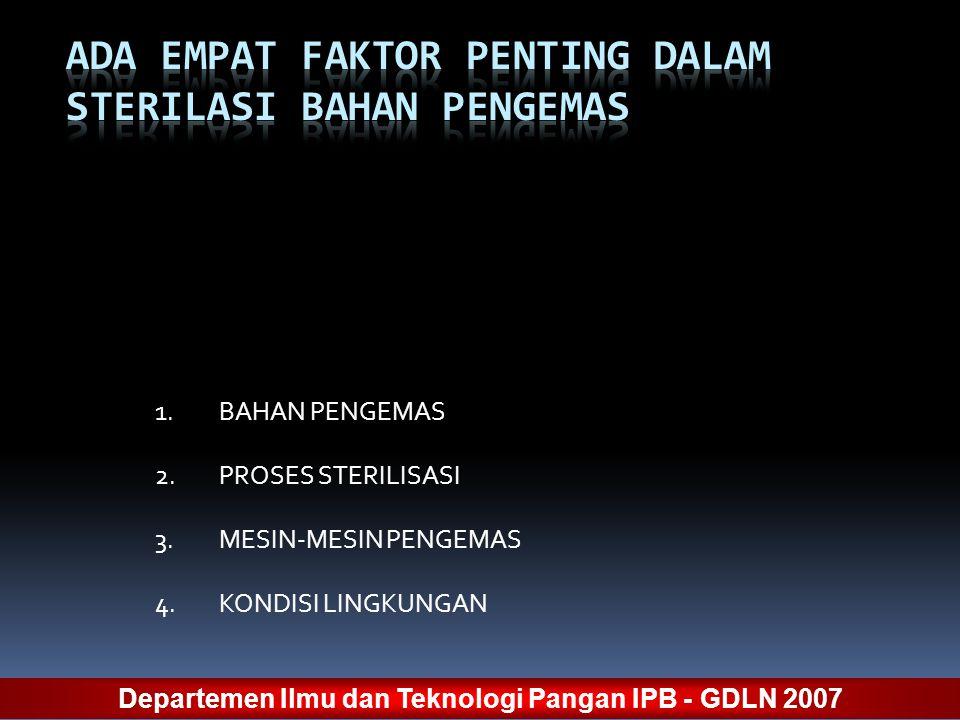 1.BAHAN PENGEMAS 2.PROSES STERILISASI 3.MESIN-MESIN PENGEMAS 4.KONDISI LINGKUNGAN Departemen Ilmu dan Teknologi Pangan IPB - GDLN 2007