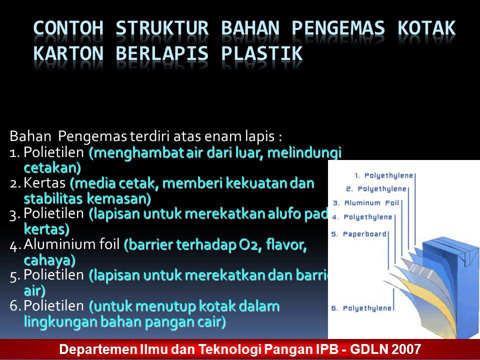 Bahan Pengemas terdiri atas enam lapis : (menghambat air dari luar, melindungi cetakan) 1.Polietilen (menghambat air dari luar, melindungi cetakan) (m