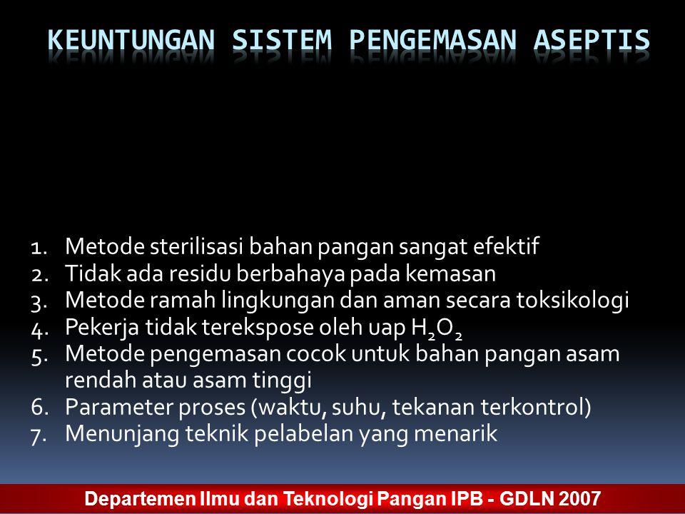 1.Metode sterilisasi bahan pangan sangat efektif 2.Tidak ada residu berbahaya pada kemasan 3.Metode ramah lingkungan dan aman secara toksikologi 4.Pek