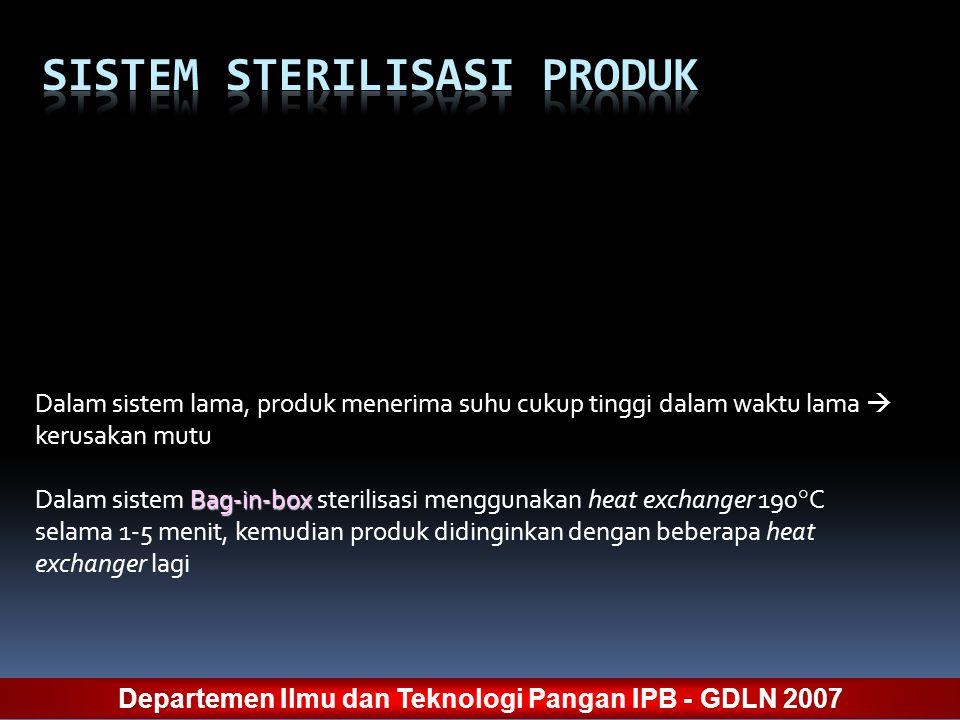Dalam sistem lama, produk menerima suhu cukup tinggi dalam waktu lama  kerusakan mutu Bag-in-box Dalam sistem Bag-in-box sterilisasi menggunakan heat