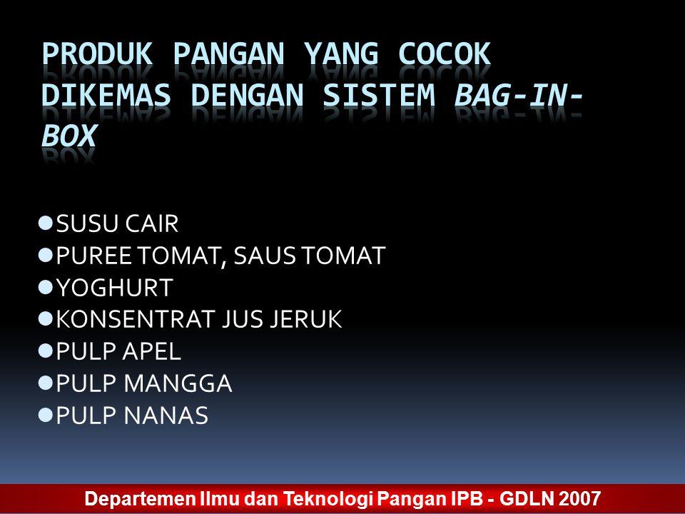 SUSU CAIR PUREE TOMAT, SAUS TOMAT YOGHURT KONSENTRAT JUS JERUK PULP APEL PULP MANGGA PULP NANAS Departemen Ilmu dan Teknologi Pangan IPB - GDLN 2007