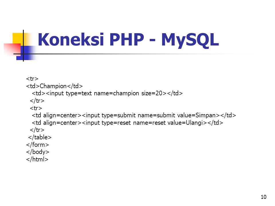 10 Champion Koneksi PHP - MySQL