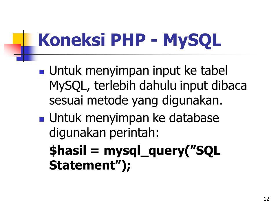 12 Koneksi PHP - MySQL Untuk menyimpan input ke tabel MySQL, terlebih dahulu input dibaca sesuai metode yang digunakan. Untuk menyimpan ke database di