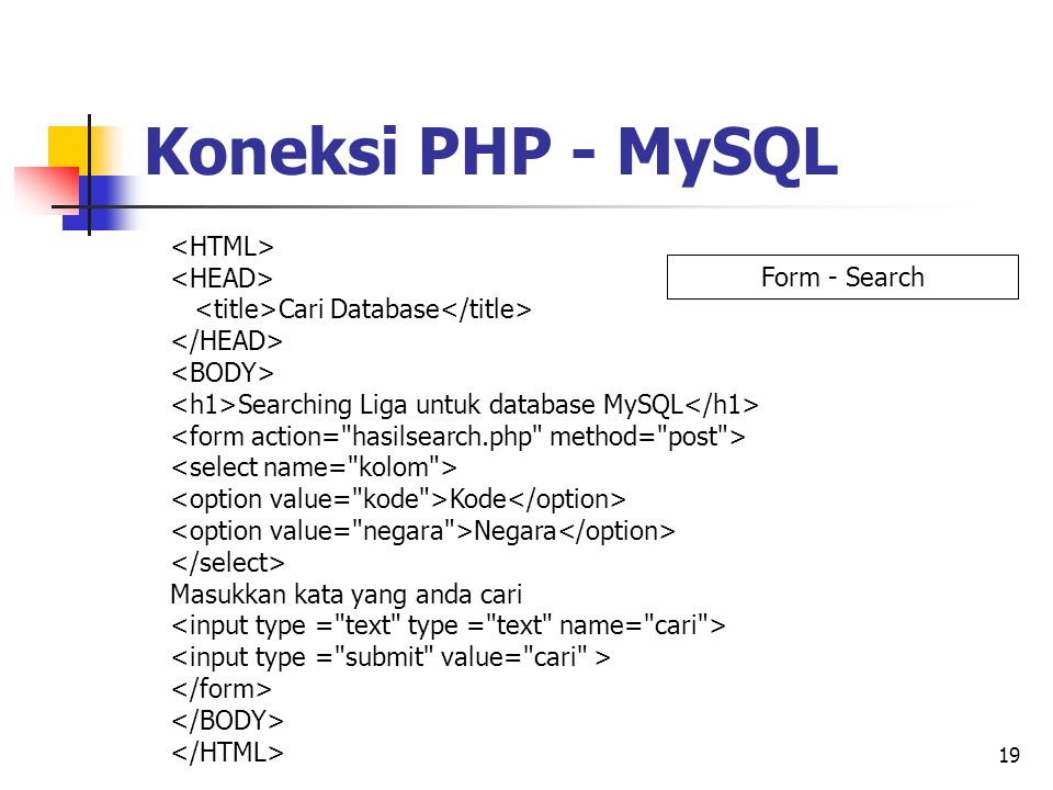 19 Cari Database Searching Liga untuk database MySQL Kode Negara Masukkan kata yang anda cari Koneksi PHP - MySQL Form - Search