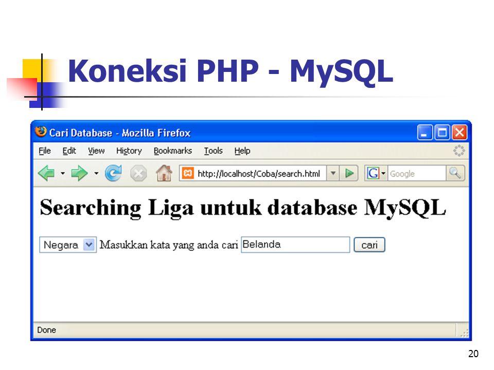 20 Koneksi PHP - MySQL