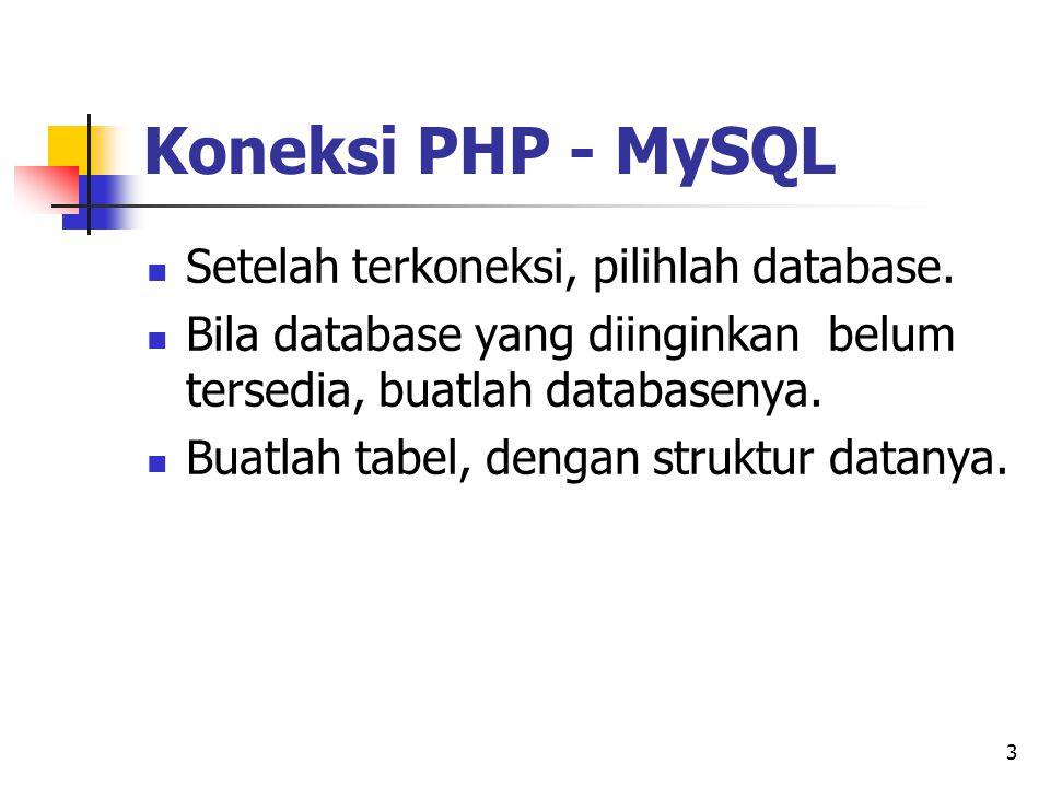 3 Setelah terkoneksi, pilihlah database. Bila database yang diinginkan belum tersedia, buatlah databasenya. Buatlah tabel, dengan struktur datanya. Ko