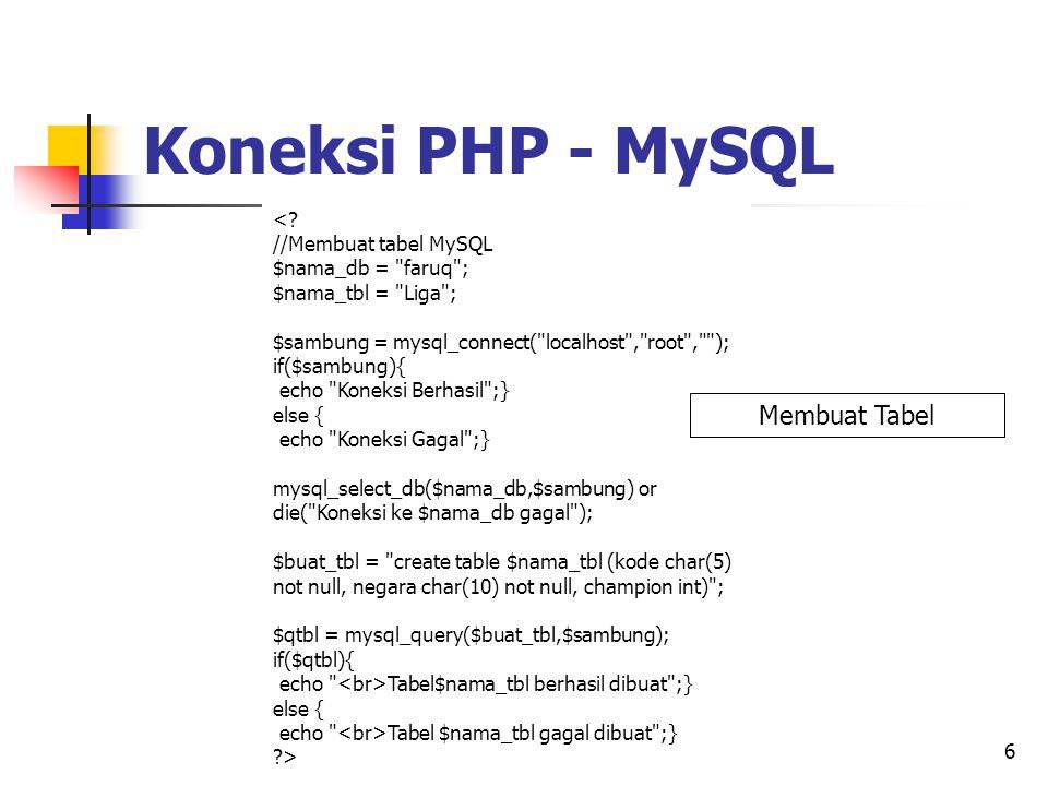 6 <? //Membuat tabel MySQL $nama_db =
