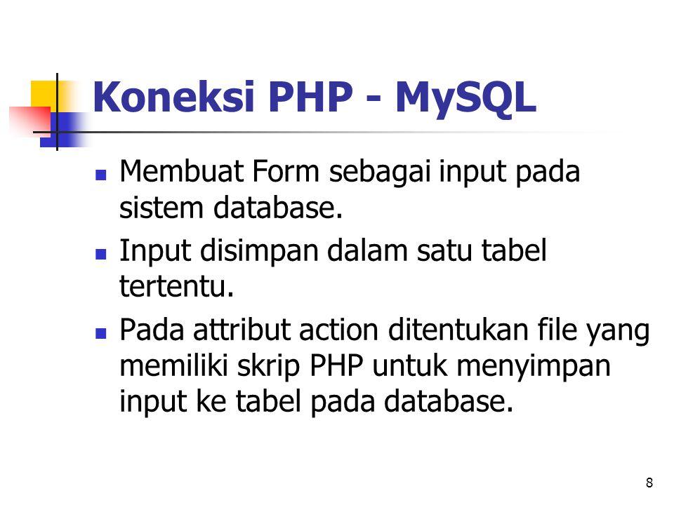 8 Membuat Form sebagai input pada sistem database. Input disimpan dalam satu tabel tertentu. Pada attribut action ditentukan file yang memiliki skrip