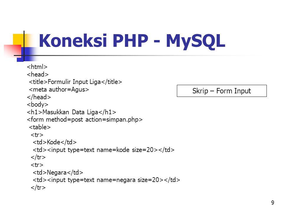 9 Formulir Input Liga Masukkan Data Liga Kode Negara Koneksi PHP - MySQL Skrip – Form Input