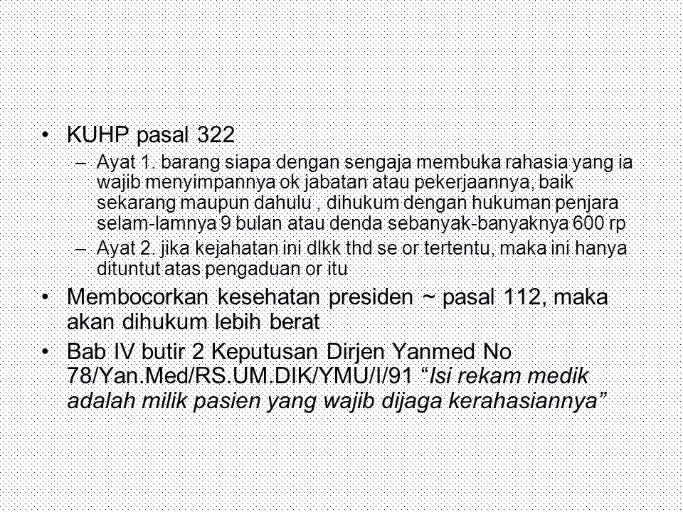 UURS Pasal 38 (1) Setiap Rumah Sakit harus menyimpan rahasia kedokteran.