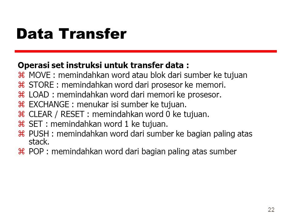 22 Data Transfer Operasi set instruksi untuk transfer data : zMOVE : memindahkan word atau blok dari sumber ke tujuan zSTORE : memindahkan word dari p