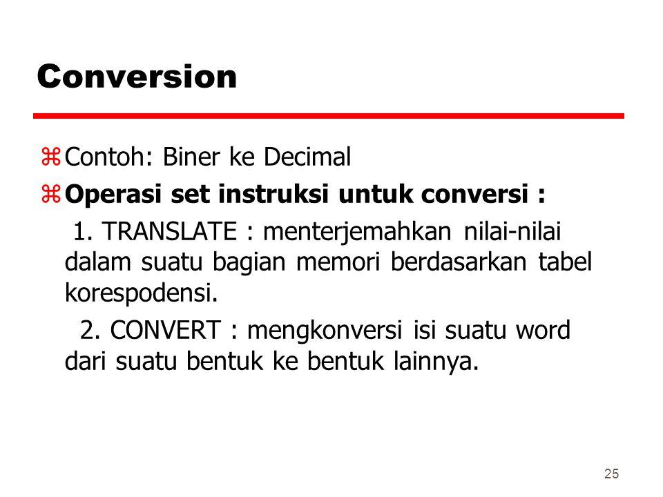 25 Conversion zContoh: Biner ke Decimal zOperasi set instruksi untuk conversi : 1. TRANSLATE : menterjemahkan nilai-nilai dalam suatu bagian memori be