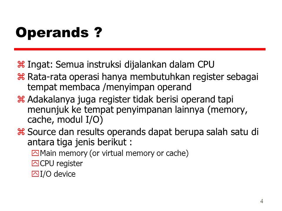 4 Operands ? zIngat: Semua instruksi dijalankan dalam CPU zRata-rata operasi hanya membutuhkan register sebagai tempat membaca /menyimpan operand zAda