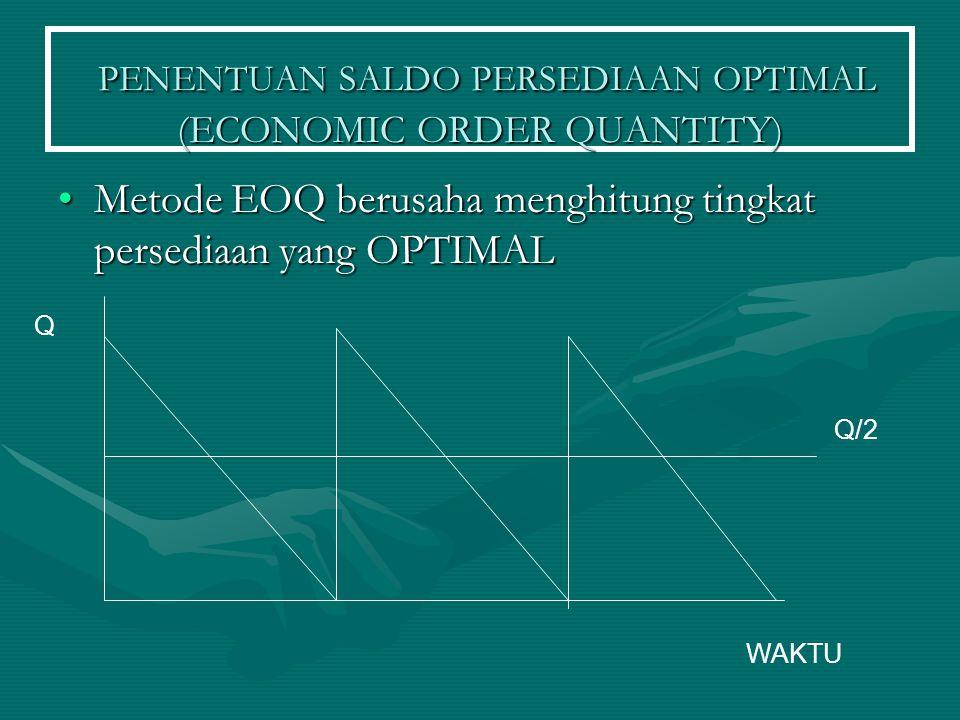 PENENTUAN SALDO PERSEDIAAN OPTIMAL (ECONOMIC ORDER QUANTITY) PENENTUAN SALDO PERSEDIAAN OPTIMAL (ECONOMIC ORDER QUANTITY) Metode EOQ berusaha menghitu