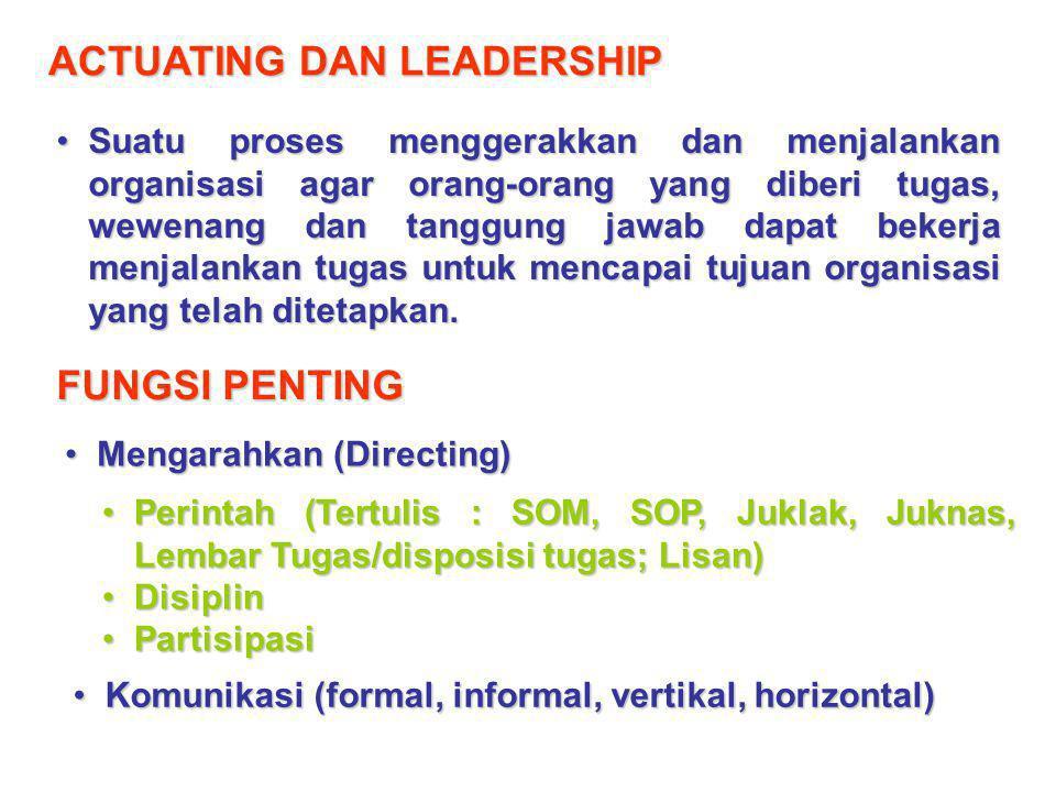ACTUATING DAN LEADERSHIP Suatu proses menggerakkan dan menjalankan organisasi agar orang-orang yang diberi tugas, wewenang dan tanggung jawab dapat be