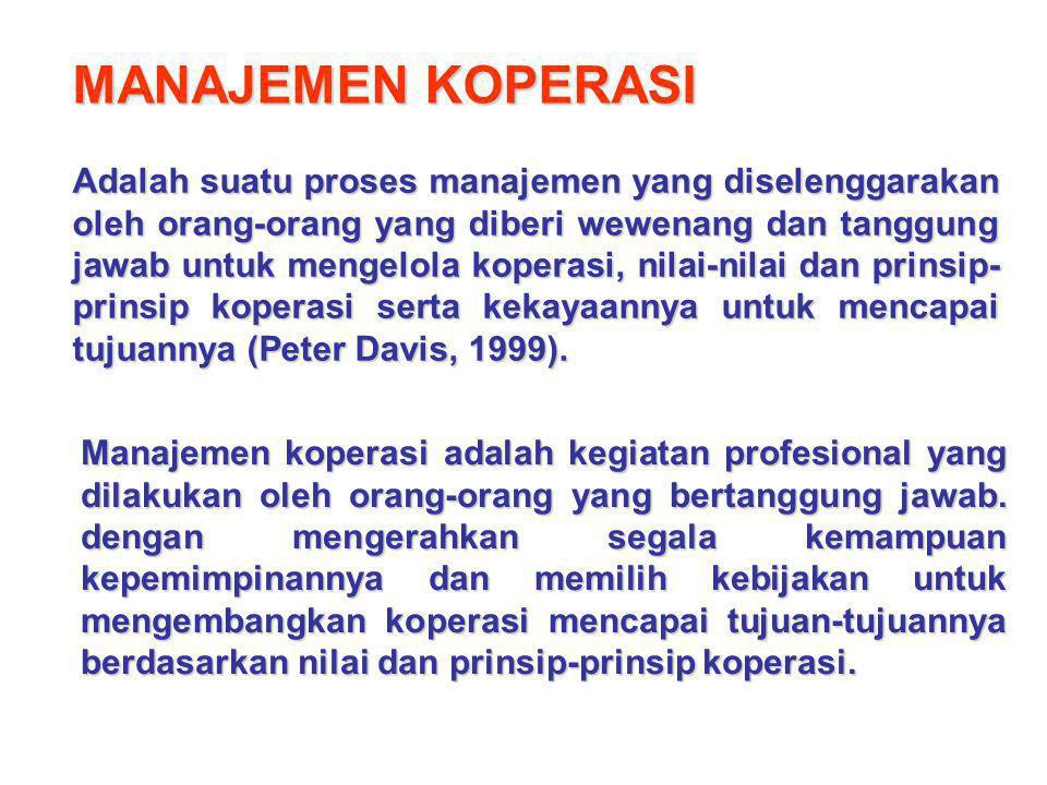 MANAJEMEN KOPERASI Adalah suatu proses manajemen yang diselenggarakan oleh orang-orang yang diberi wewenang dan tanggung jawab untuk mengelola koperas