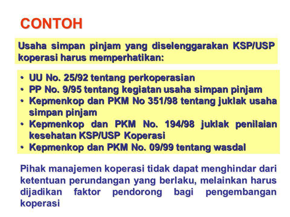 CONTOH Usaha simpan pinjam yang diselenggarakan KSP/USP koperasi harus memperhatikan: UU No. 25/92 tentang perkoperasianUU No. 25/92 tentang perkopera