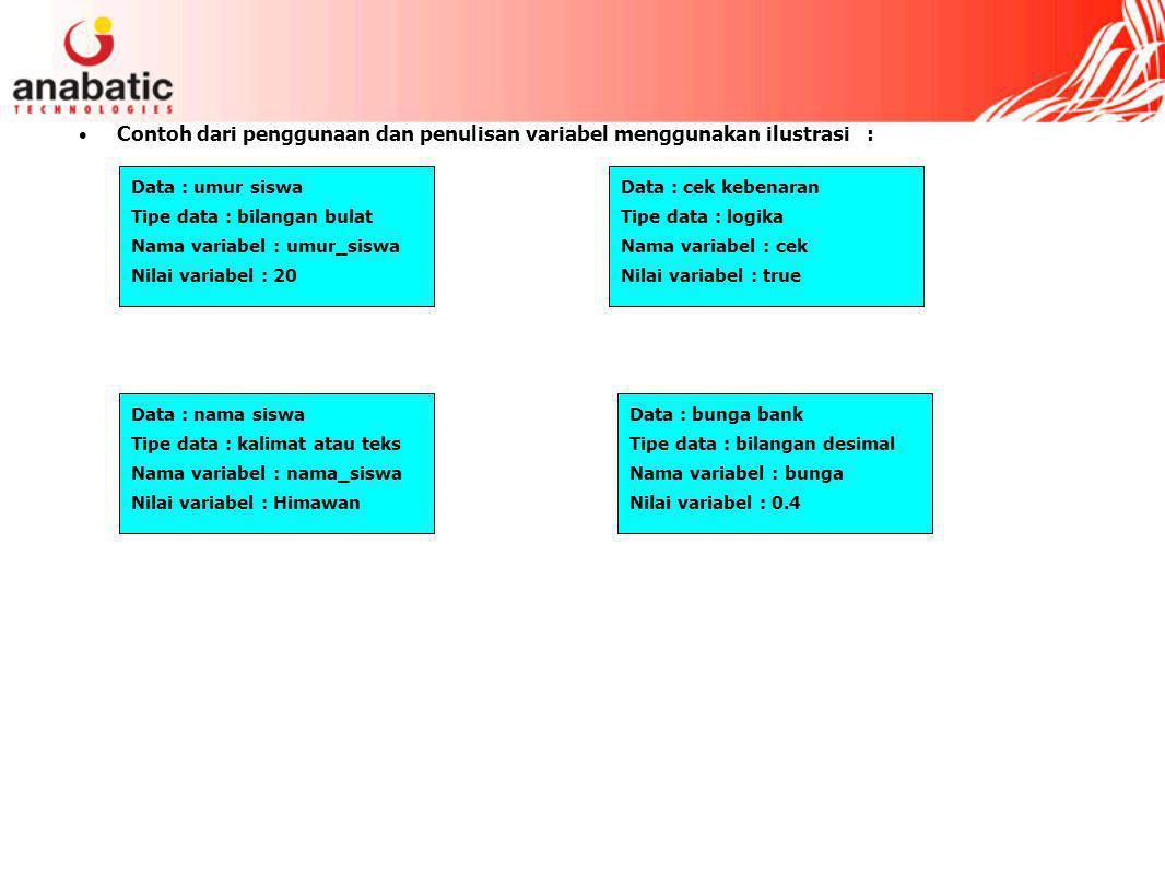 Contoh dari penggunaan dan penulisan variabel menggunakan ilustrasi : Data : umur siswa Tipe data : bilangan bulat Nama variabel : umur_siswa Nilai variabel : 20 Data : nama siswa Tipe data : kalimat atau teks Nama variabel : nama_siswa Nilai variabel : Himawan Data : cek kebenaran Tipe data : logika Nama variabel : cek Nilai variabel : true Data : bunga bank Tipe data : bilangan desimal Nama variabel : bunga Nilai variabel : 0.4