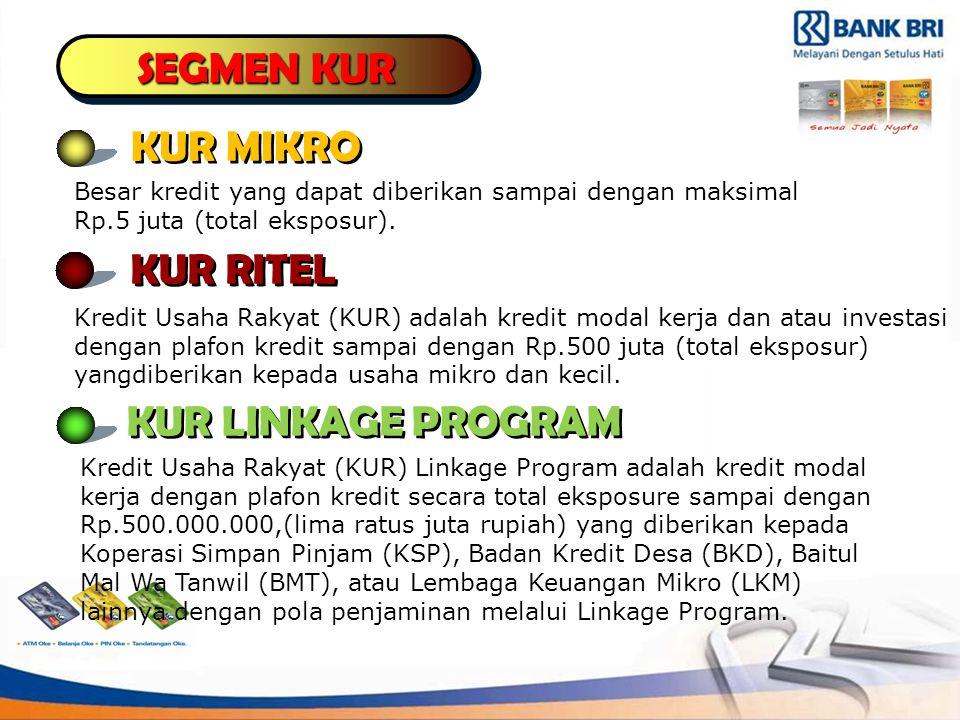 SEGMEN KUR KUR MIKRO KUR RITEL KUR LINKAGE PROGRAM Besar kredit yang dapat diberikan sampai dengan maksimal Rp.5 juta (total eksposur).