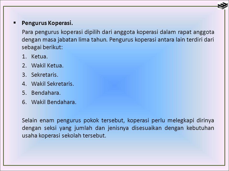  Pengurus Koperasi. Para pengurus koperasi dipilih dari anggota koperasi dalam rapat anggota dengan masa jabatan lima tahun. Pengurus koperasi antara