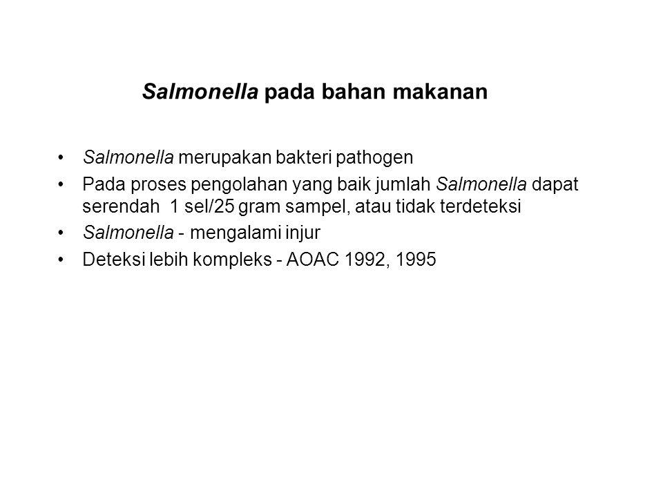 Salmonella pada bahan makanan Salmonella merupakan bakteri pathogen Pada proses pengolahan yang baik jumlah Salmonella dapat serendah 1 sel/25 gram sa