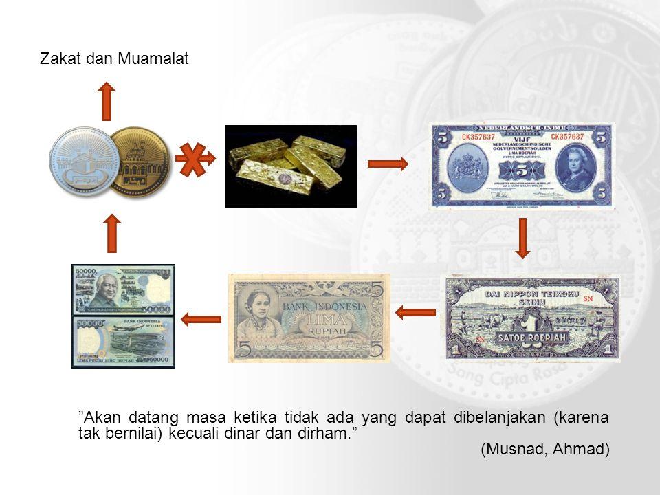 """""""Akan datang masa ketika tidak ada yang dapat dibelanjakan (karena tak bernilai) kecuali dinar dan dirham."""" (Musnad, Ahmad) Zakat dan Muamalat"""