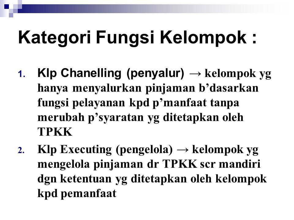 Kategori Fungsi Kelompok : 1. Klp Chanelling (penyalur) → kelompok yg hanya menyalurkan pinjaman b'dasarkan fungsi pelayanan kpd p'manfaat tanpa merub