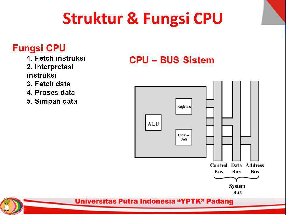 Struktur & Fungsi CPU Fungsi CPU 1. Fetch instruksi 2.