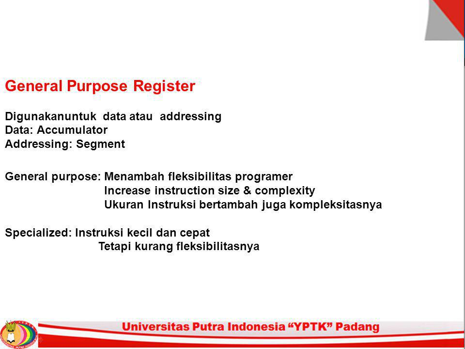 Jumlah General Purpose Register 1.Antara 8 - 32 2.