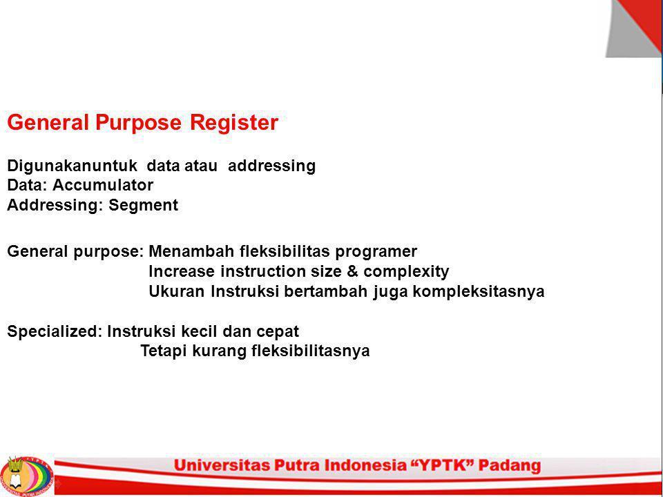 General Purpose Register Digunakanuntuk data atau addressing Data: Accumulator Addressing: Segment General purpose: Menambah fleksibilitas programer I