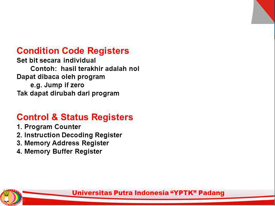 Condition Code Registers Set bit secara individual Contoh: hasil terakhir adalah nol Dapat dibaca oleh program e.g.