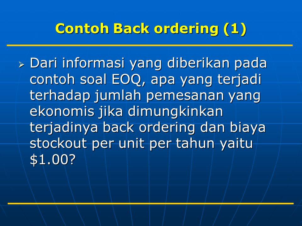 Contoh Back ordering (1)  Dari informasi yang diberikan pada contoh soal EOQ, apa yang terjadi terhadap jumlah pemesanan yang ekonomis jika dimungkinkan terjadinya back ordering dan biaya stockout per unit per tahun yaitu $1.00?