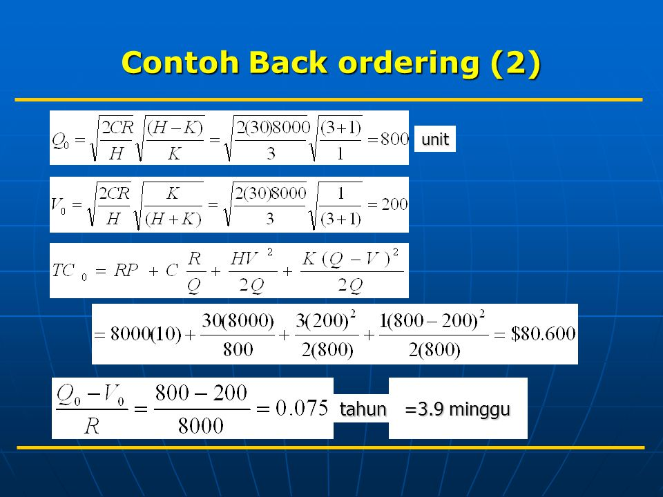 Contoh Back ordering (2) unit tahun =3.9 minggu