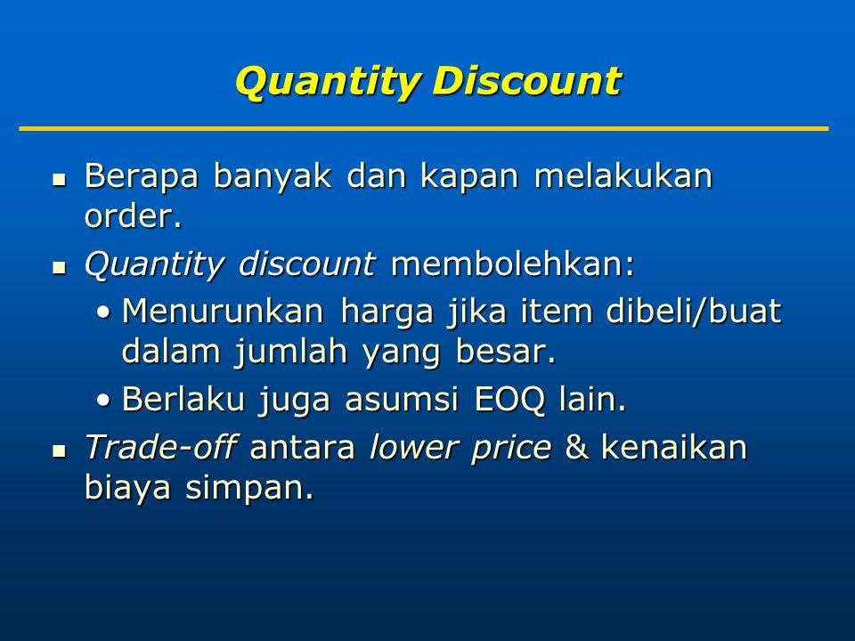 Quantity Discount Berapa banyak dan kapan melakukan order.