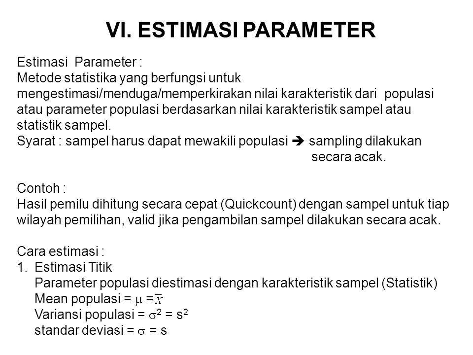 2.Estimasi Interval Nilai parameter populasi diestimasi pada kisaran tertentu.