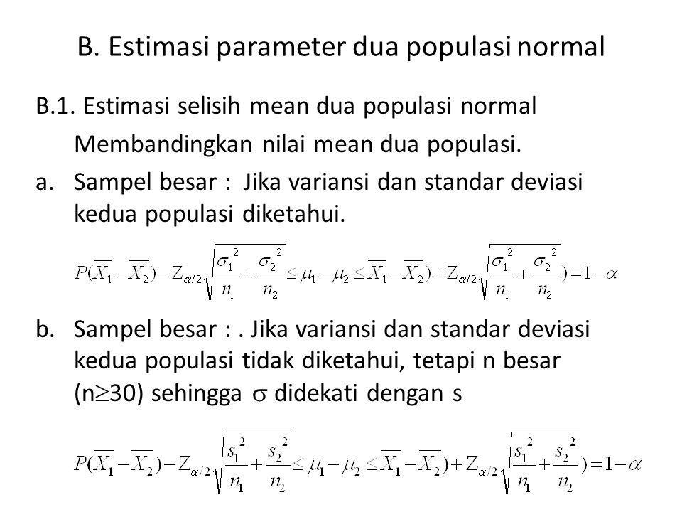 B.Estimasi parameter dua populasi normal B.1.