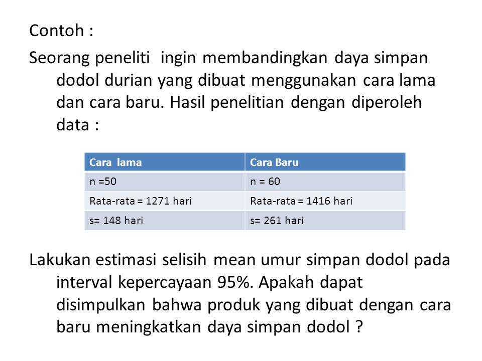 B.2.Estimasi selisih mean dua populasi norma untuk sampel kecil.