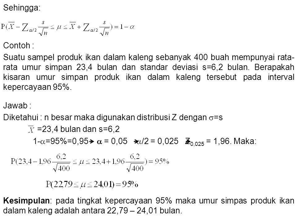 2.Estimasi mean populasi dengan sampel kecil.