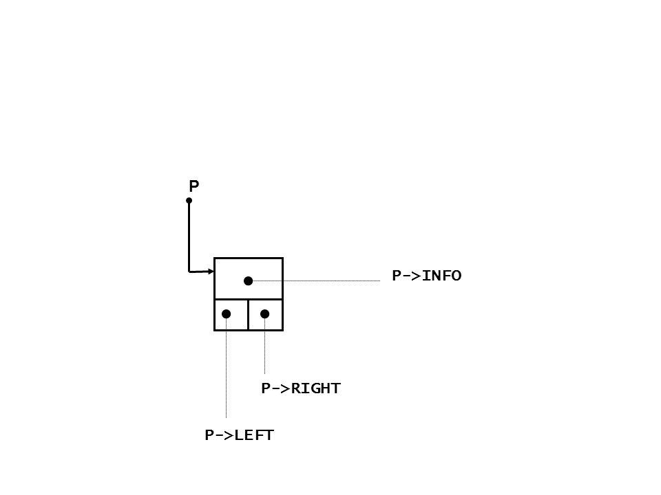 P P->INFO P->LEFT P->RIGHT