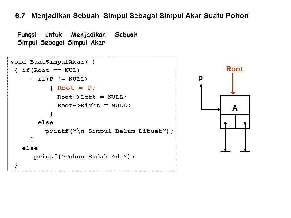 "void BuatSimpulAkar( ) { if(Root == NUL) { if(P != NULL) { Root = P; Root->Left = NULL; Root->Right = NULL; } else printf(""\n Simpul Belum Dibuat""); }"