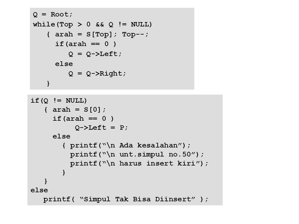 Q = Root; while(Top > 0 && Q != NULL) { arah = S[Top]; Top--; if(arah == 0 ) Q = Q->Left; else Q = Q->Right; } if(Q != NULL) { arah = S[0]; if(arah ==