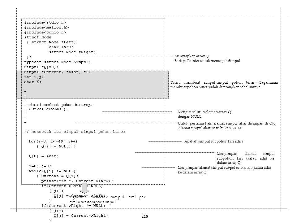218 #include struct Node { struct Node *Left; char INFO; struct Node *Right; }; typedef struct Node Simpul; Simpul *Q[50]; Simpul *Current, *Akar, *P;