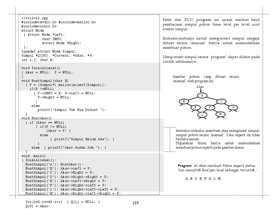 219 //trilvl2.cpp #include #include #include struct Node { struct Node *Left; char INFO; struct Node *Right; }; typedef struct Node Simpul; Simpul *Q[