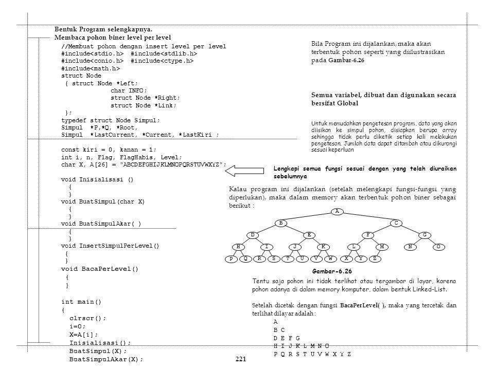 //Membuat pohon dengan insert level per level #include #include #include struct Node { struct Node *Left; char INFO; struct Node *Right; struct Node *