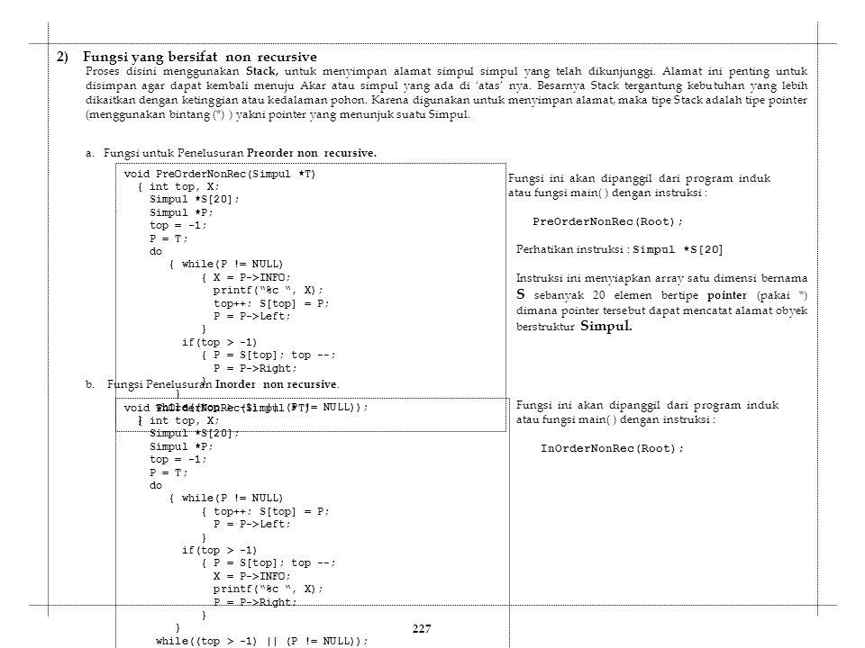 a. Fungsi untuk Penelusuran Preorder non recursive. void PreOrderNonRec(Simpul *T) { int top, X; Simpul *S[20]; Simpul *P; top = -1; P = T; do { while