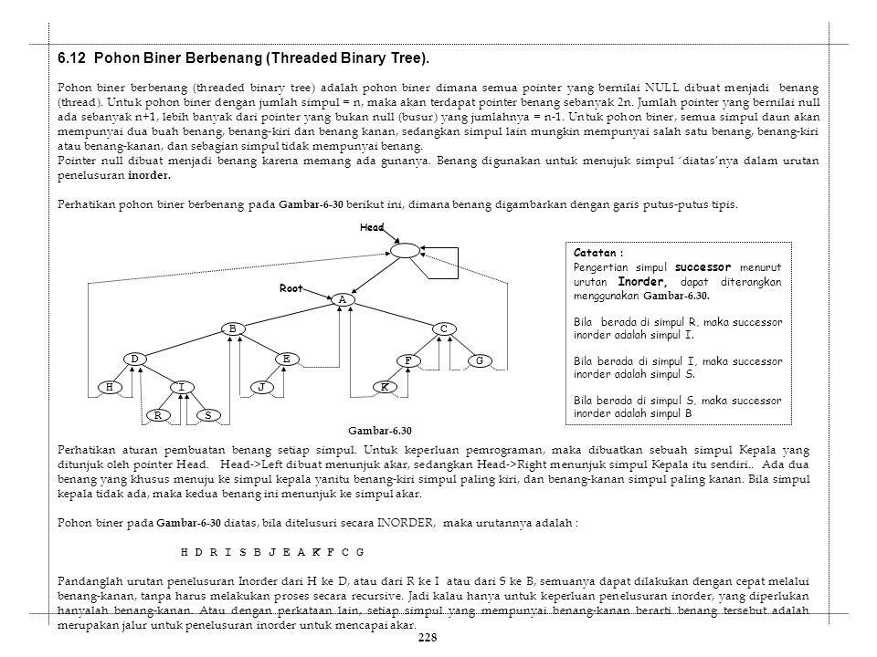 6.12 Pohon Biner Berbenang (Threaded Binary Tree). Pohon biner berbenang (threaded binary tree) adalah pohon biner dimana semua pointer yang bernilai